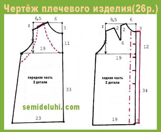 Выкройка платья для девочки 8 лет в натуральную величину