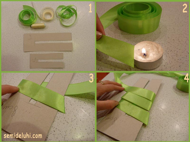 Как сделать бантик из ленты на шаблоне