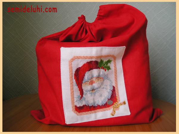 Мешок для подарков с вышивкой