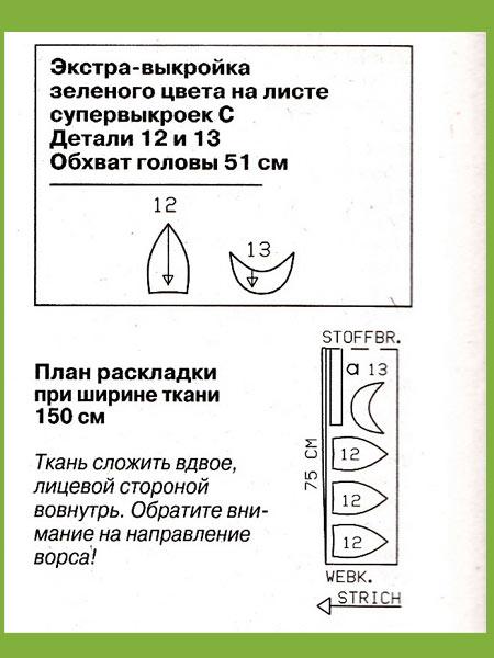 Раскладка деталей кепки на ткани