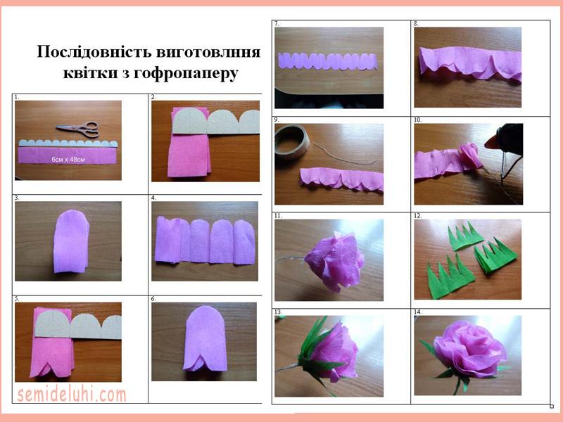 Как сделать бумажные цветы своими руками из гофрированной бумаги 42