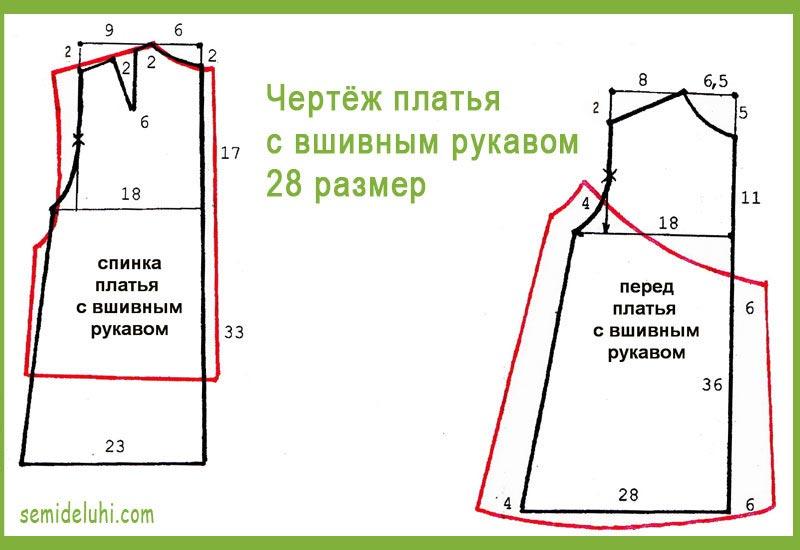 Выкройка платья 28 размер